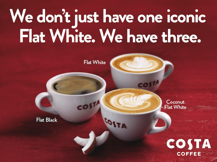 We are celebrating 10 years of our iconic Flat White by introducing the new Oat Flat White. Pop into your local Costa to try it yourself. Event Image